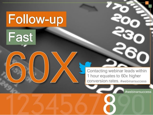 Contacting webinar leads within 1 hour equates to 60x higher conversion rates. #webinarsuccess #webinarsuccess