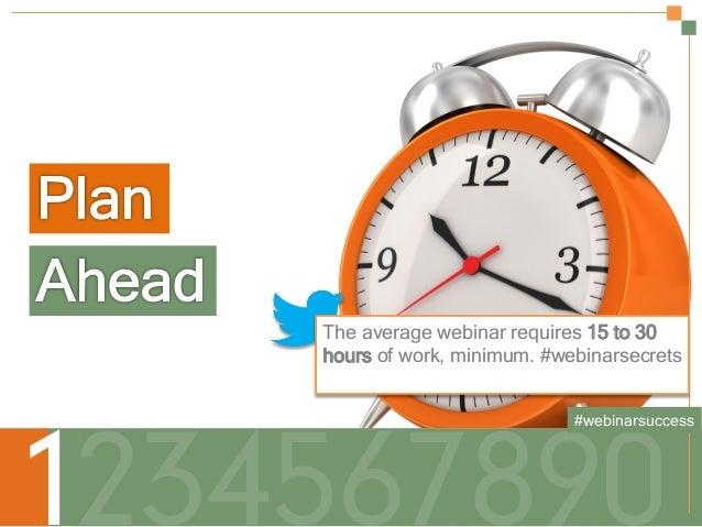 The average webinar requires 15 to 30 hours of work, minimum. #webinarsecrets #webinarsuccess