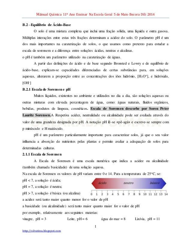 Manual Química 11º Ano Ensinar Na Escola Geral 5 de Maio Becora Díli 2014 1 http://silvatinu.blogspot.com B.2 –Equilíbrio ...