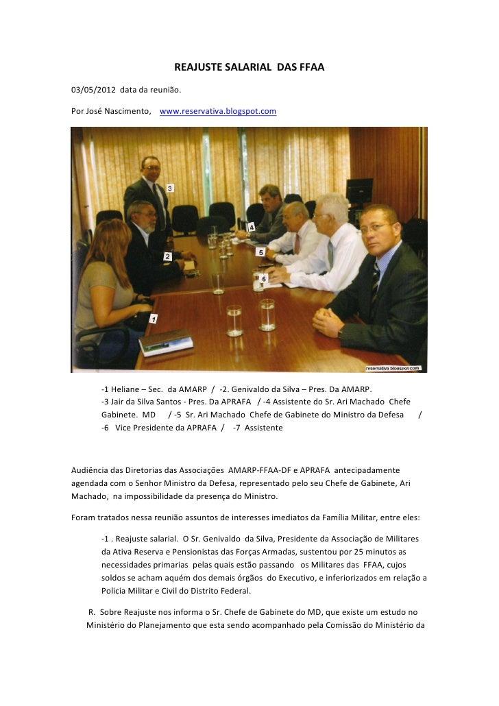REAJUSTE SALARIAL DAS FFAA03/05/2012 data da reunião.Por José Nascimento, www.reservativa.blogspot.com        -1 Heliane –...