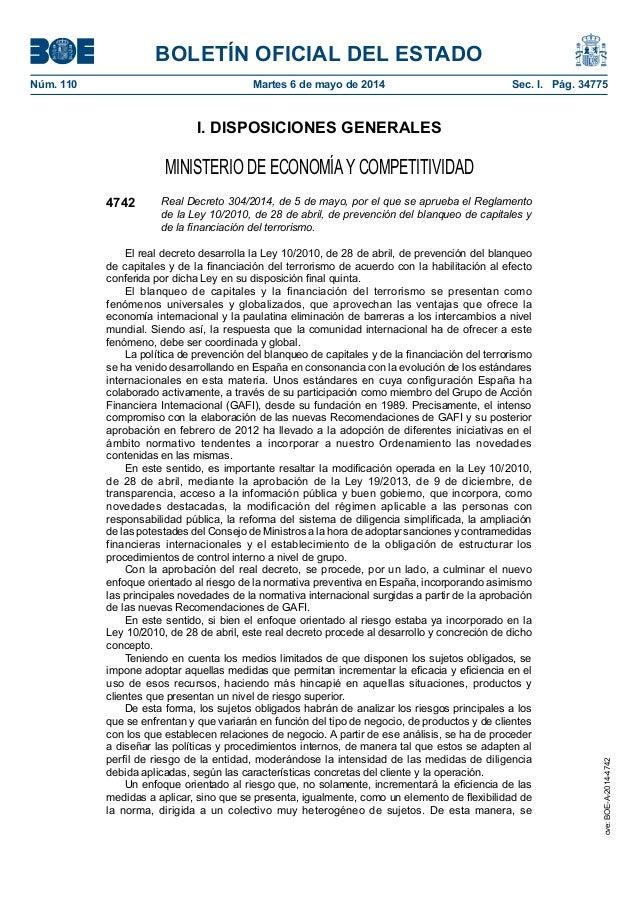 BOLETÍN OFICIAL DEL ESTADO Núm. 110 Martes 6 de mayo de 2014 Sec. I. Pág. 34775 I. DISPOSICIONES GENERALES MINISTERIO DE...