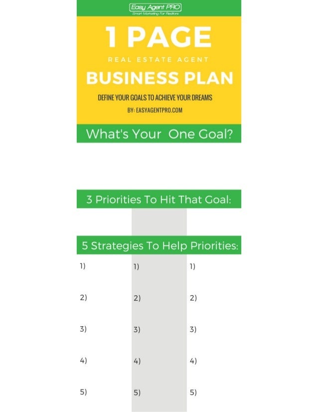 One Page Real Estate Business Plan Template - Realtor business plan template