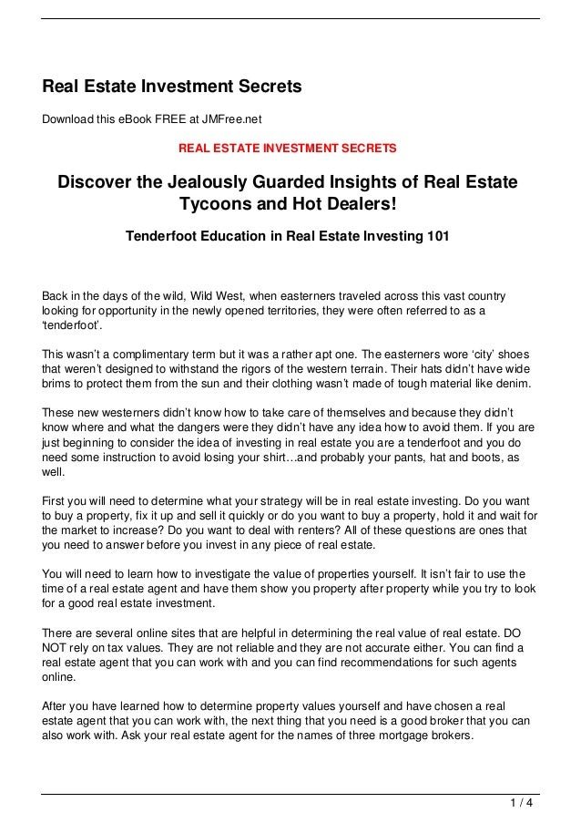 Real Estate Investment SecretsDownload this eBook FREE at JMFree.net                            REAL ESTATE INVESTMENT SEC...