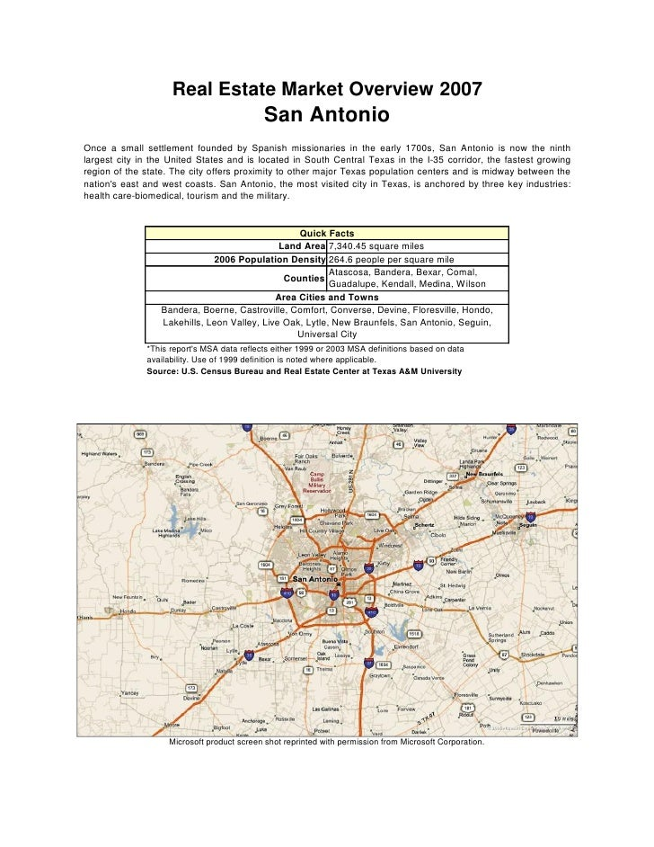Real Estate Market Overview 2007                                             San Antonio Once a small settlement founded b...
