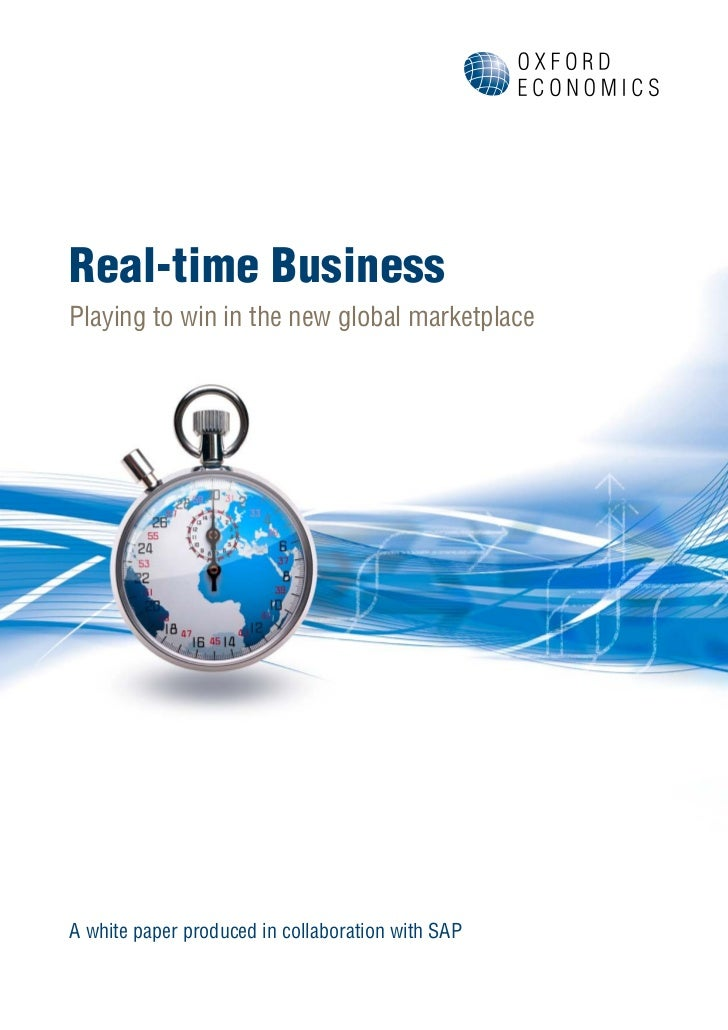Real-time BusinessPlaying to win in the new global marketplaceA white paper produced in collaboration with SAP