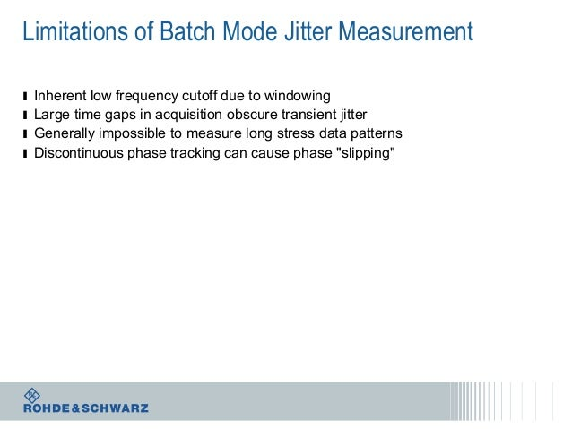 Limitations of Batch Mode Jitter Measurement ı ı ı ı  Inherent low frequency cutoff due to windowing Large time gaps in ac...