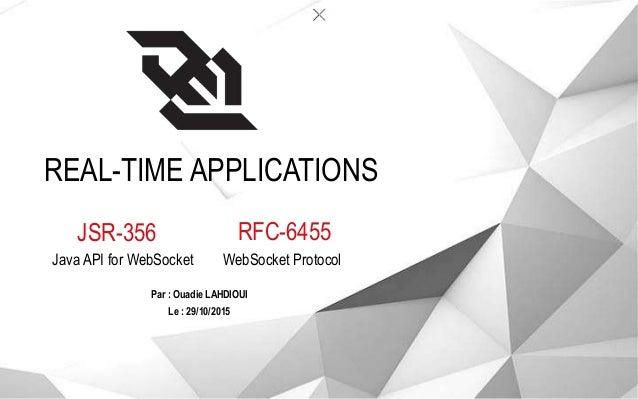 REAL-TIME APPLICATIONS JSR-356 Java API for WebSocket Par : Ouadie LAHDIOUI RFC-6455 WebSocket Protocol Le : 29/10/2015