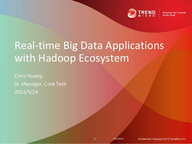 Real-time Big Data Applications  with Hadoop Ecosystem  Chris Huang  Sr. Manager, Core Tech  2014/9/24  1 9/25/2014 Confid...