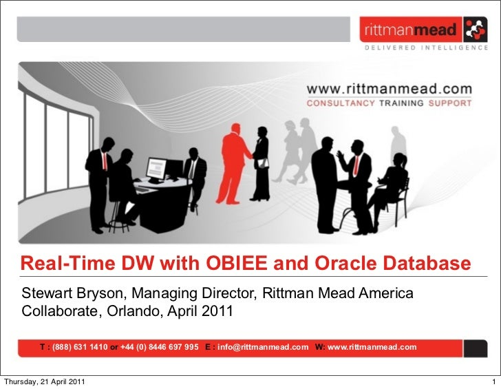 Real-Time DW with OBIEE and Oracle Database    Stewart Bryson, Managing Director, Rittman Mead America    Collaborate, Orl...