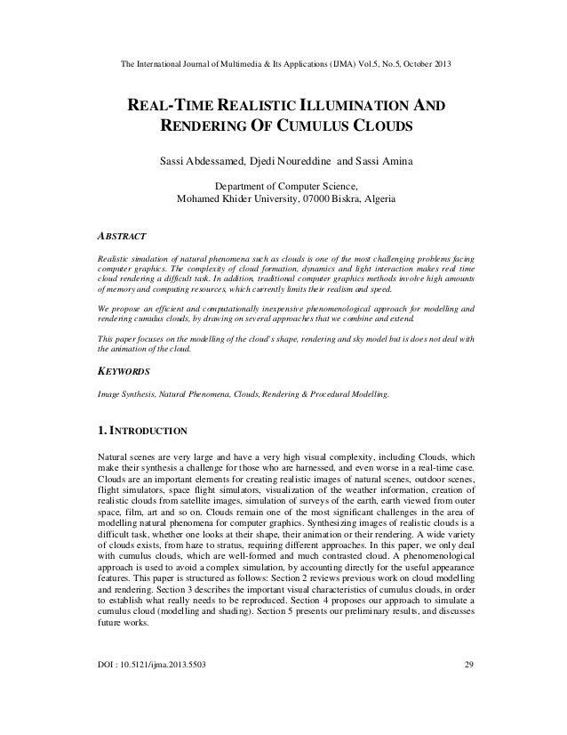 The International Journal of Multimedia & Its Applications (IJMA) Vol.5, No.5, October 2013  REAL-TIME REALISTIC ILLUMINAT...