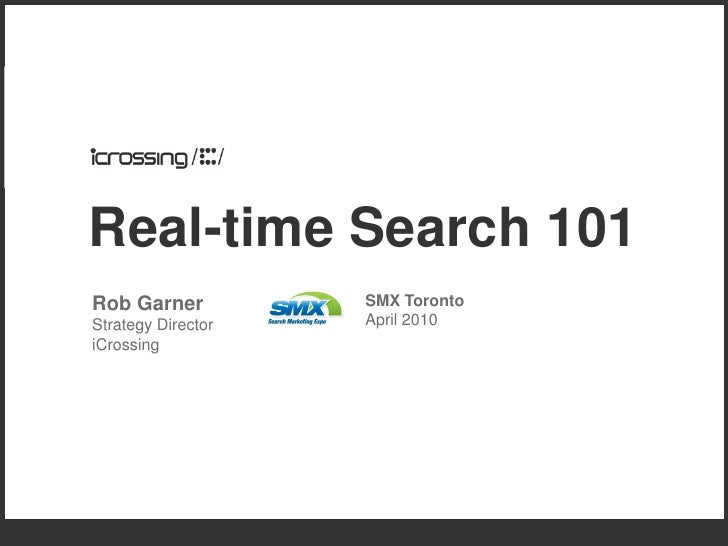 Real-time Search 101 Rob Garner          SMX Toronto Strategy Director   April 2010 iCrossing