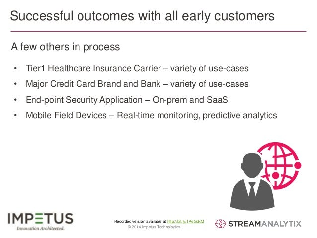 Successful outcomes with all early customers  A few others in process  • Tier1 Healthcare Insurance Carrier – variety of u...