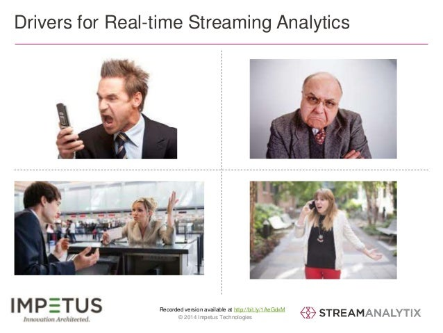 Drivers for Real-time Streaming Analytics  Recorded version available at http://bit.ly/1AeGdxM  7 © 2014 Impetus Technolog...