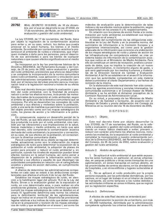 41356 Sábado 17 diciembre 2005 BOE núm. 301 20792 REAL DECRETO 1513/2005, de 16 de diciem- bre, por el que se desarrolla l...