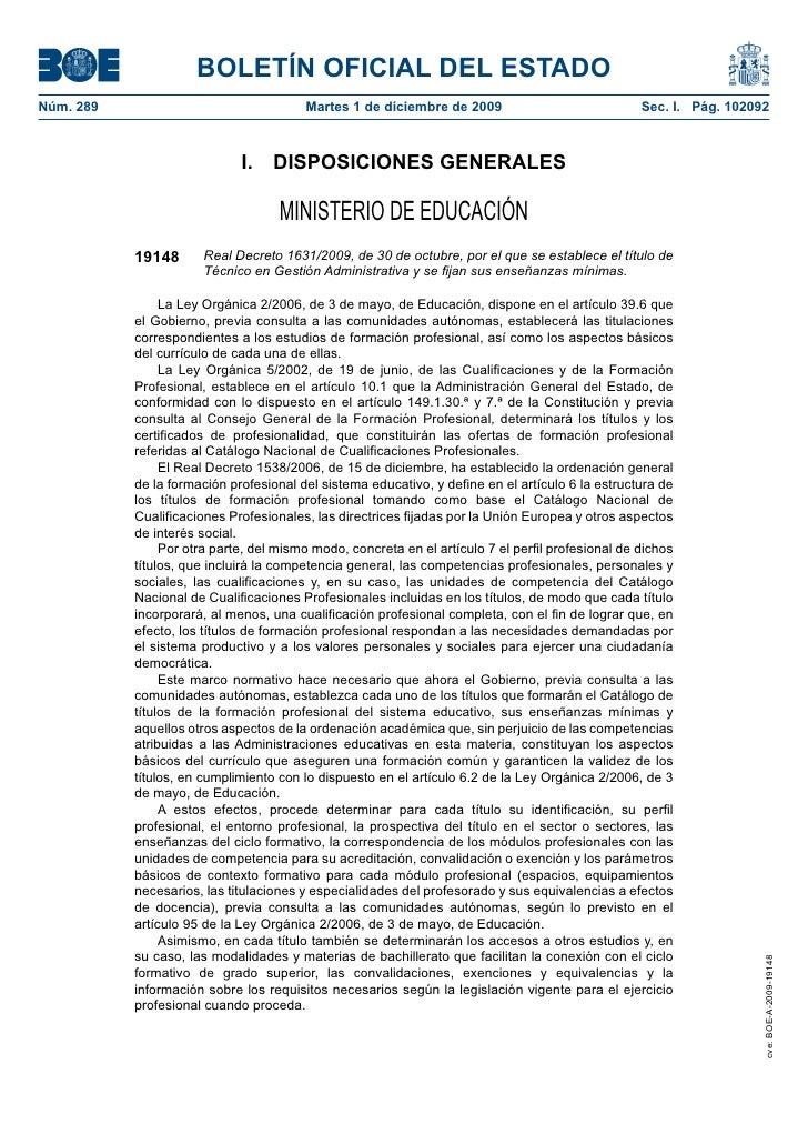 BOLETÍN OFICIAL DEL ESTADONúm. 289                                Martes 1 de diciembre de 2009                         ...