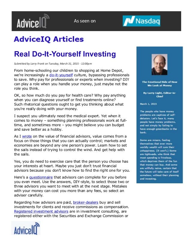 Real diy investing advice iq real do it yourself investing submitted by larry frank on tuesday solutioingenieria Images