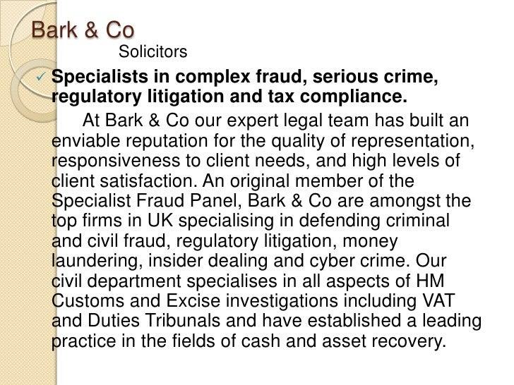 BARK & CO SOLICITORS LONDON: EXPERTISE Slide 3