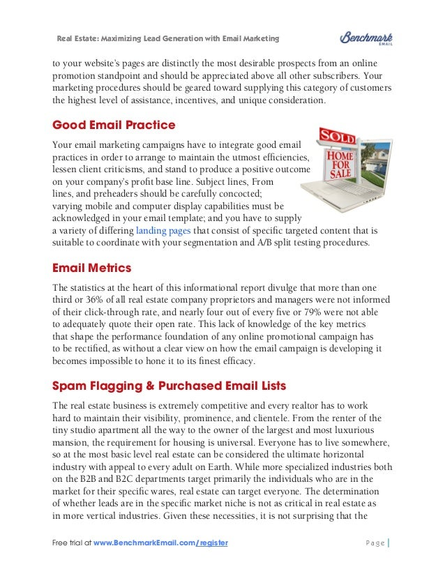 Real Estate: Maximizing Lead Generation with Email Marketing  purchase or rental of email address lists is more widespread...