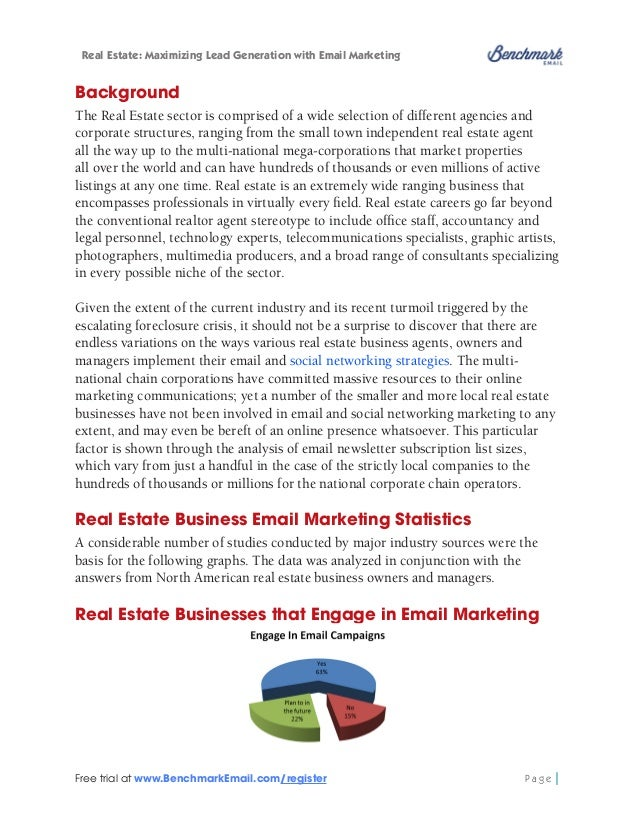 Real Estate: Maximizing Lead Generation with Email Marketing  The results of this survey find that the majority of real es...