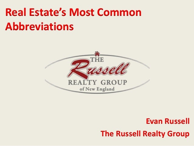 Real Estate's Most Common  Abbreviations  Evan Russell  The Russell Realty Group