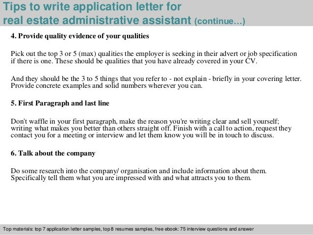 Real estate administrative assistant application letter