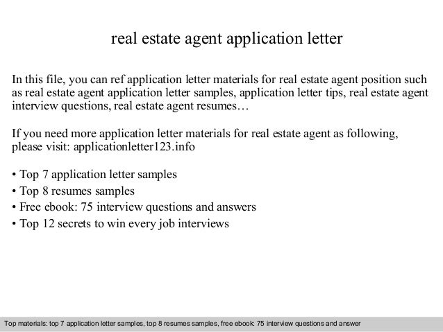 Real Estate Agent Application Letter In This File, You Can Ref Application  Letter Materials For ...  Real Estate Agent Job Description For Resume