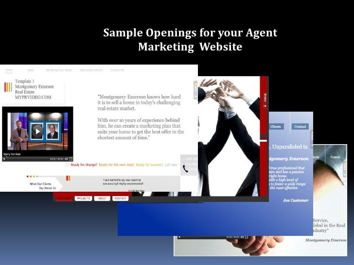 Sample Openings for your Agent Marketing  Website<br />