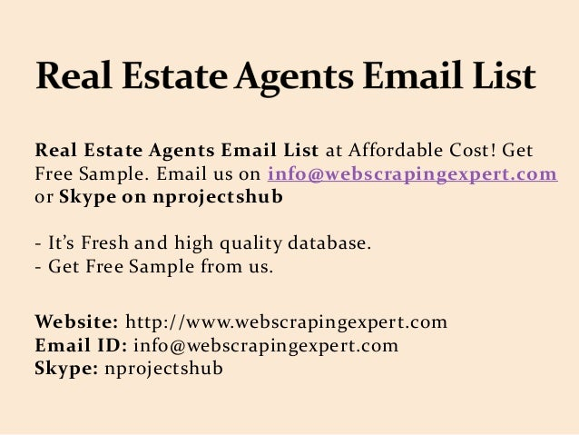 Real Estate Agents Email List