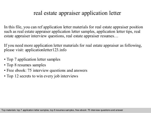 Real Estate Appraiser Application Letter In This File, You Can Ref  Application Letter Materials For ...  Real Estate Appraiser Resume