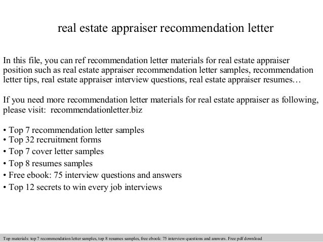 Real Estate Appraiser Recommendation Letter