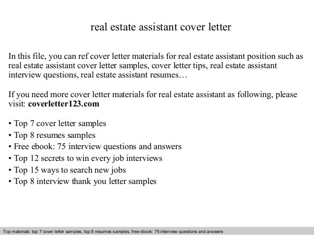 Real Estate Assistant Cover Letter In This File You Can Ref Materials For