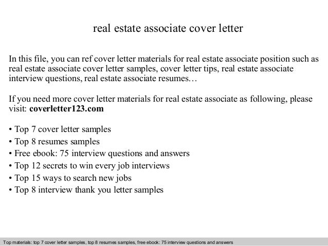 Real Estate Associate Cover Letter. Real Estate Agent Cover Letter ...