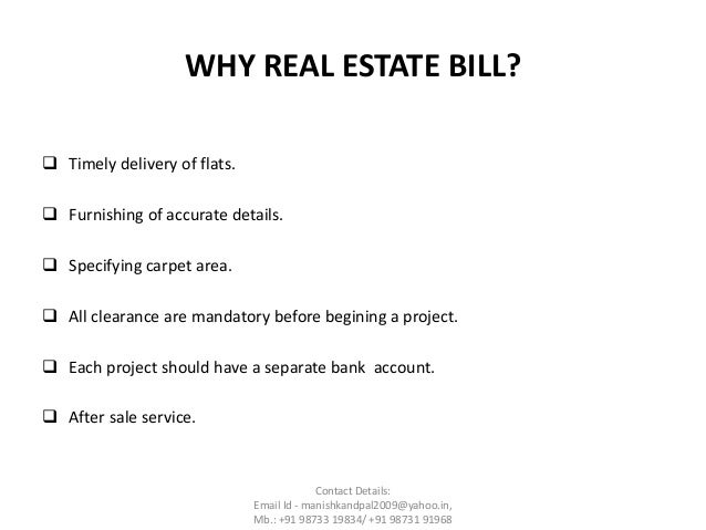 The Real Estate (Development And Regulation) Bill, 2016
