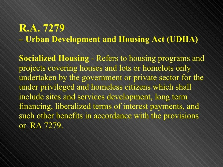 ASSESSMENT OF THE BALANCED HOUSING DEVELOPMENT COMPLIANCE IN THE PH…