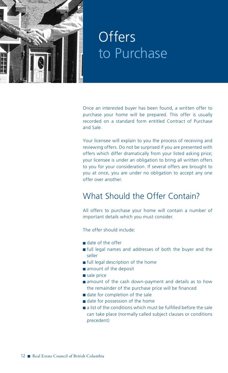 Real Estate Council Of Bc Guide To Selling