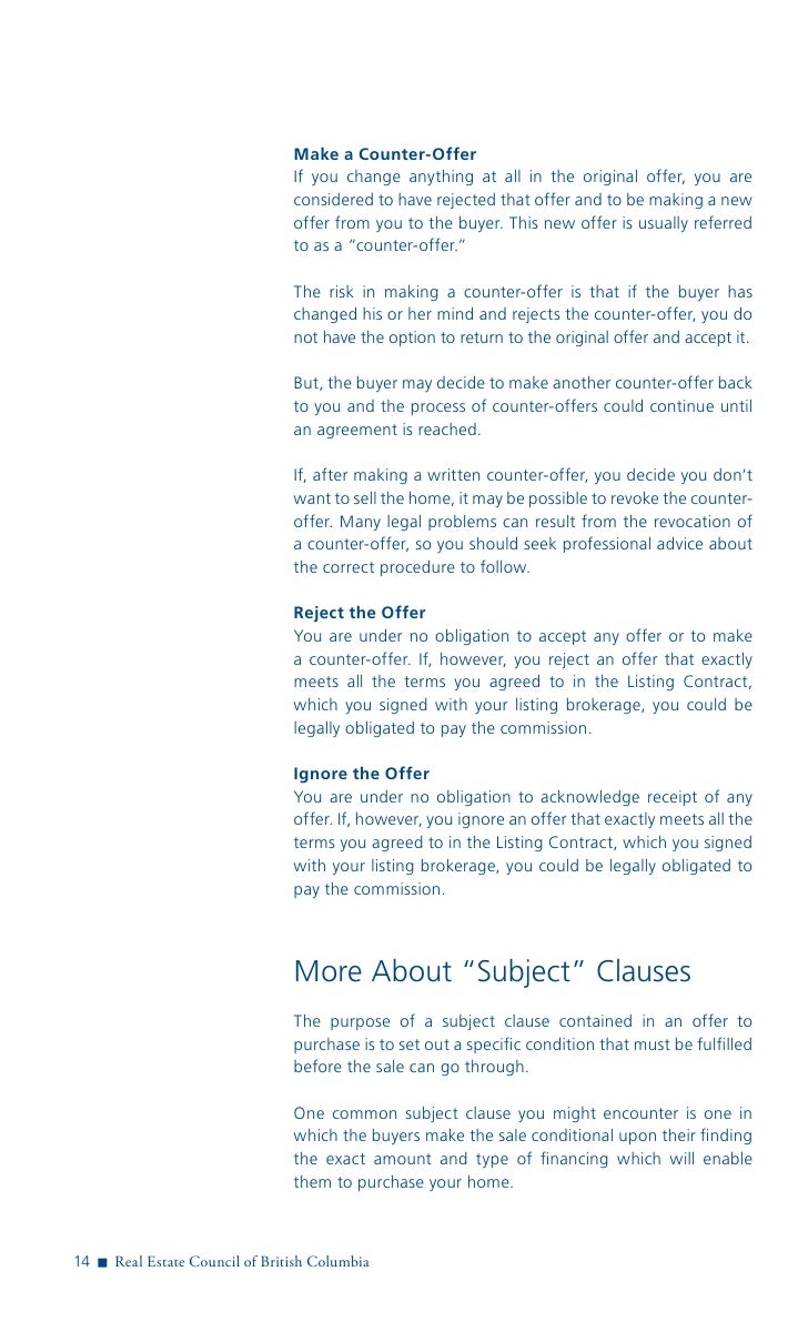 real estate council of bc guide to selling make a counter offer