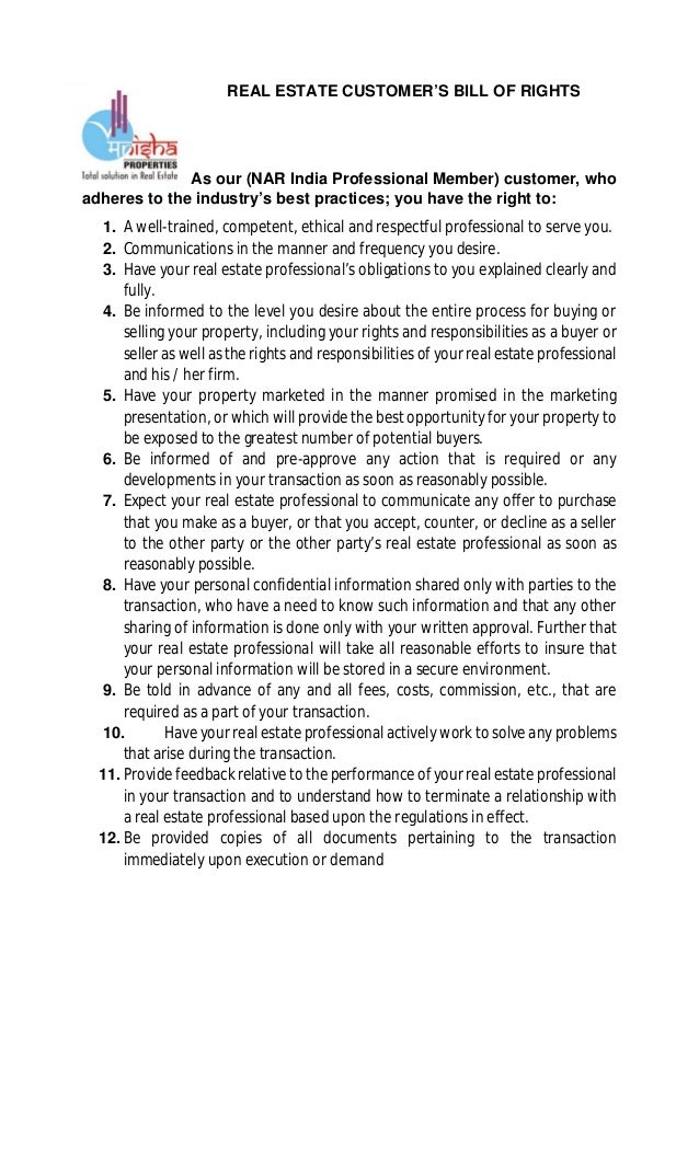 REAL ESTATE CUSTOMER'S BILL OF RIGHTS As our (NAR India Professional Member) customer, who adheres to the industry's best ...