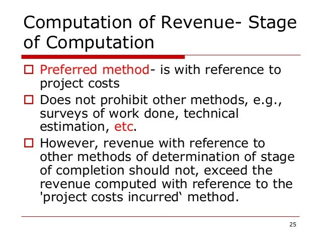 Computation of Revenue- Stage of Computation  Preferred method- is with reference to project costs  Does not prohibit ot...