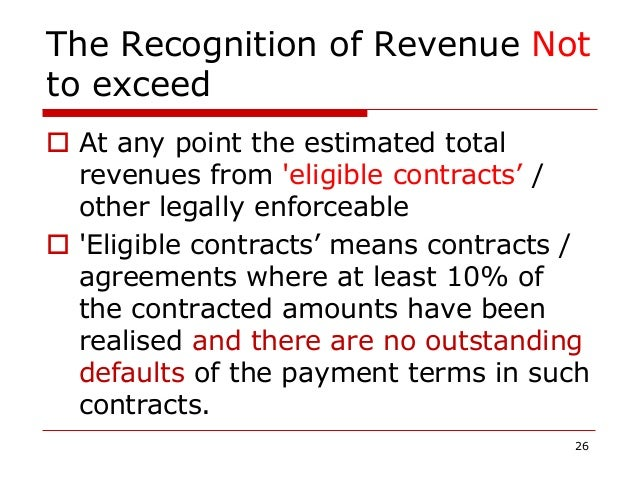 The Recognition of Revenue Not to exceed  At any point the estimated total revenues from 'eligible contracts' / other leg...
