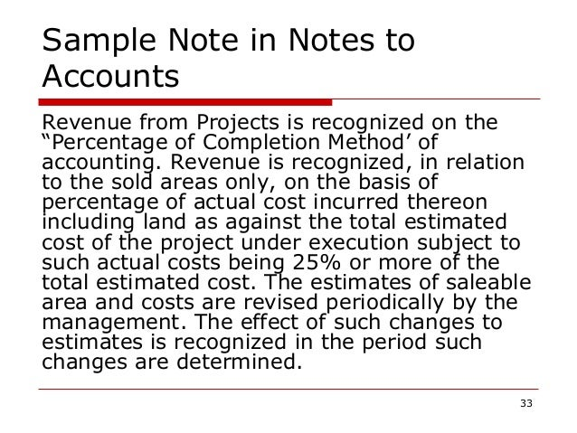 """Sample Note in Notes to Accounts Revenue from Projects is recognized on the """"Percentage of Completion Method' of accountin..."""