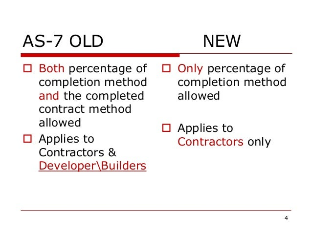AS-7 OLD NEW  Both percentage of completion method and the completed contract method allowed  Applies to Contractors & D...