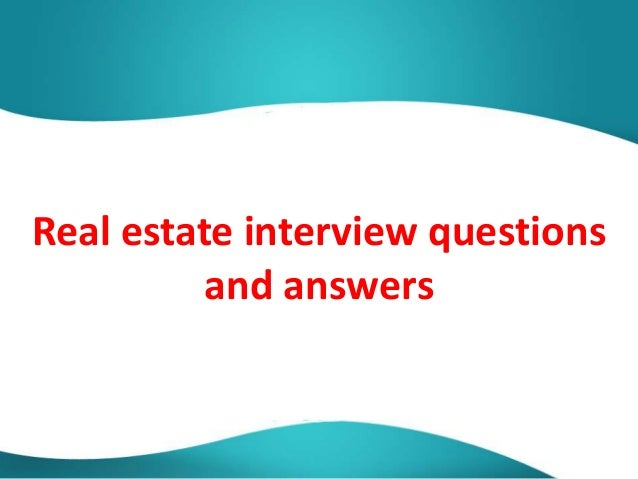real estate interview questions and answers pdf