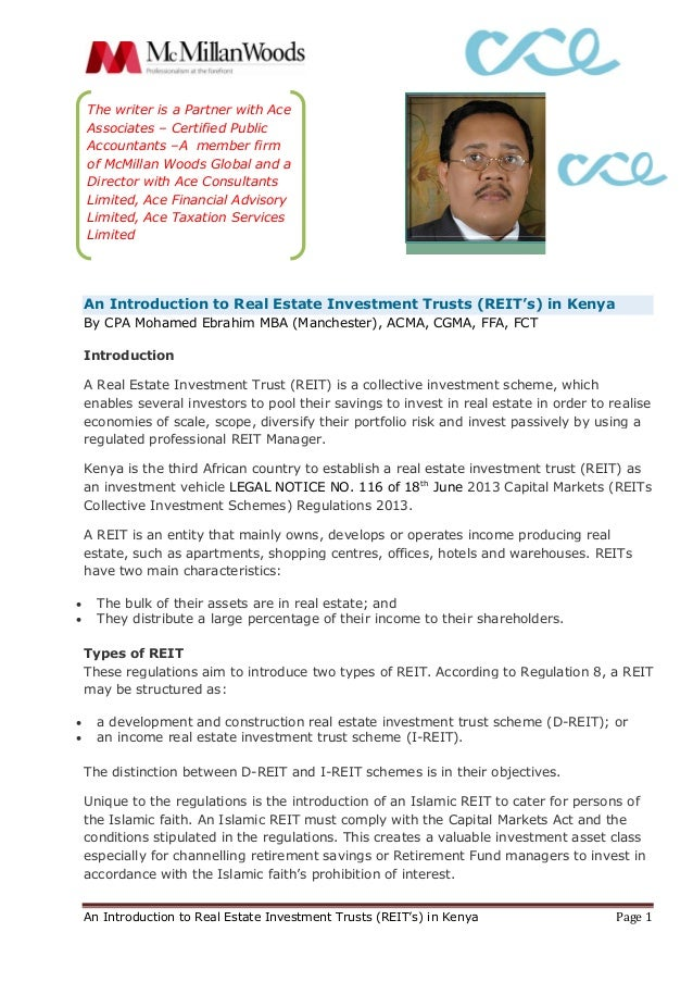 An Introduction to Real Estate Investment Trusts (REIT's) in Kenya Page 1  An Introduction to Real Estate Investment Trust...