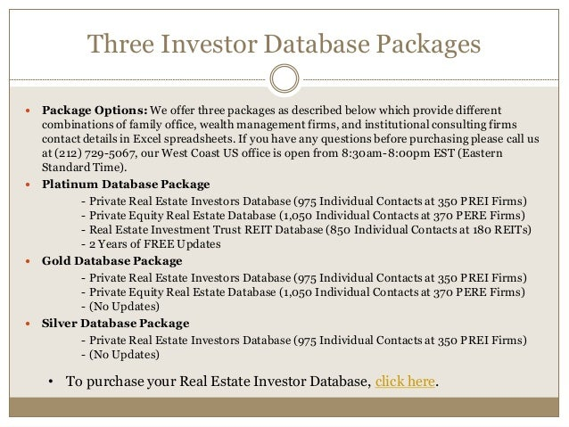 Real estate investor database - Family office real estate ...