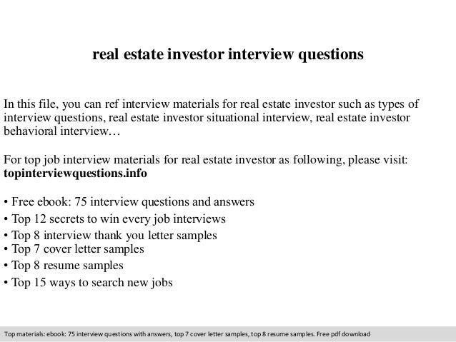 Real Estate Investor Interview Questions In This File, You Can Ref  Interview Materials For Real ...  Real Estate Investor Resume