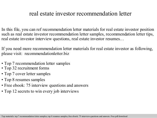 real estate investor recommendation letter