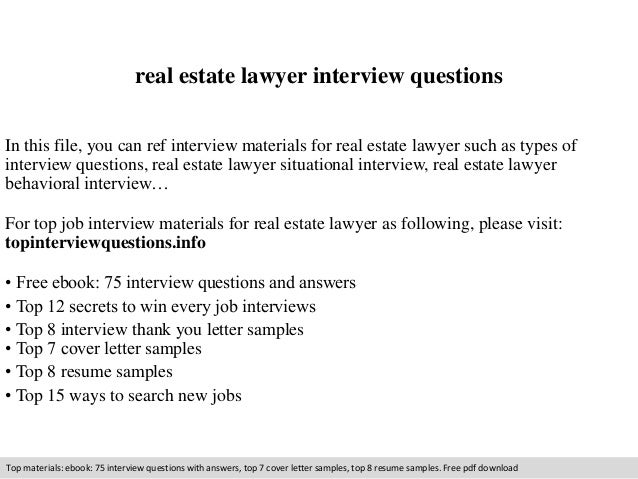 Real Estate Lawyer Interview Questions In This File, You Can Ref Interview  Materials For Real ...