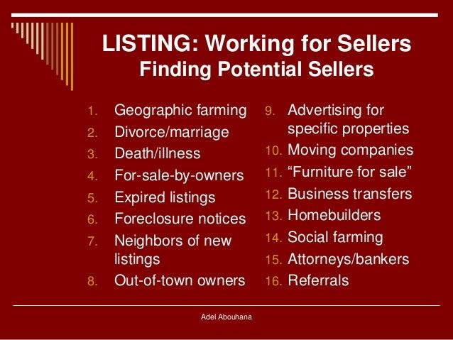 Real estate listing & sales techniques