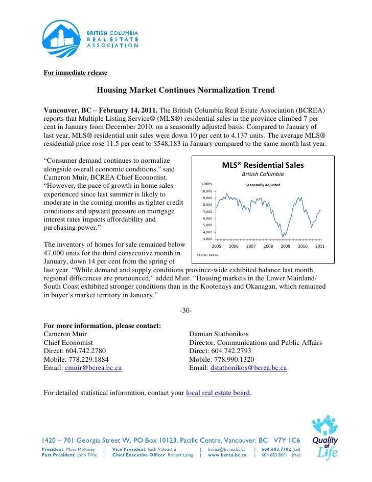 For immediate release                         Housing Market Continues Normalization TrendVancouver, BC – February 14, 201...