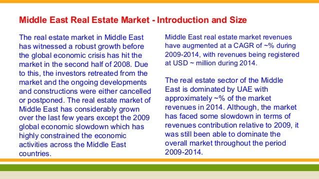 Real Estate Market in Middle East Analysis and Future Forecast 2019 – Real Estate Market Analysis